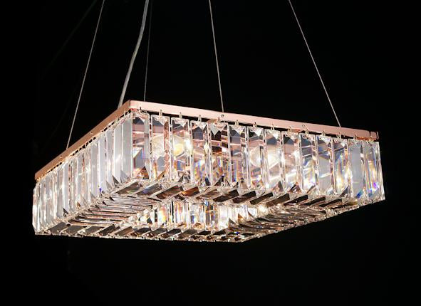 "102 Crystal Pendant Light 18"" Square 8 Light - Asfour Crystal Chandelier [S-102(610-4)-18""x18""-120]"