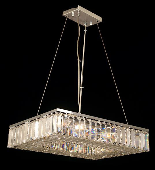 "102 Crystal Semi Flush Mount Light - Chrome 24"" x 18"" Rectangular 12 Lights - Asfour Crystal"