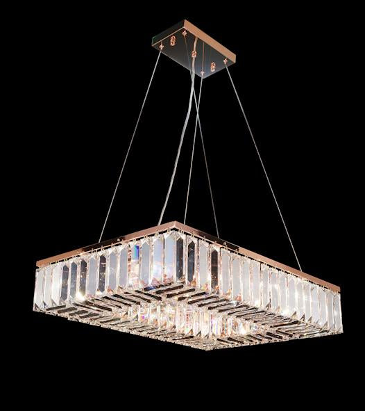 "102 Crystal Semi Flush Mount Light - Rose Gold 24"" x 18"" Rectangular 12 Lights - Asfour Crystal"