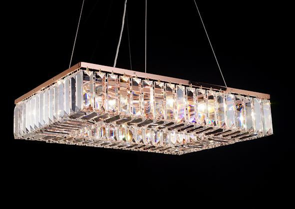 "102 Crystal Semi Flush Mount Light - Rose Gold#2 24"" x 18"" Rectangular 12 Lights - Asfour Crystal"