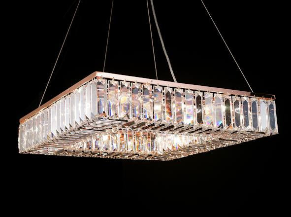 "102 Crystal Pendant Light 24"" Square 12 Light - Asfour Crystal Chandelier [S-102(610-4"")-24""x24""-176]"