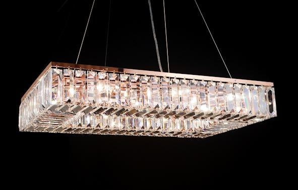 "102 Crystal Pendant Light 30"" Rectangle 14 Light - Asfour Crystal Chandelier [S-102(610-4"")-30""x18""-174]"