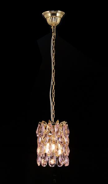 "3016 Crystal Single Pendant Light - 5"" 1 Light - Pink Asfour Crystal [S-3016-1L-873-40 PINK]"