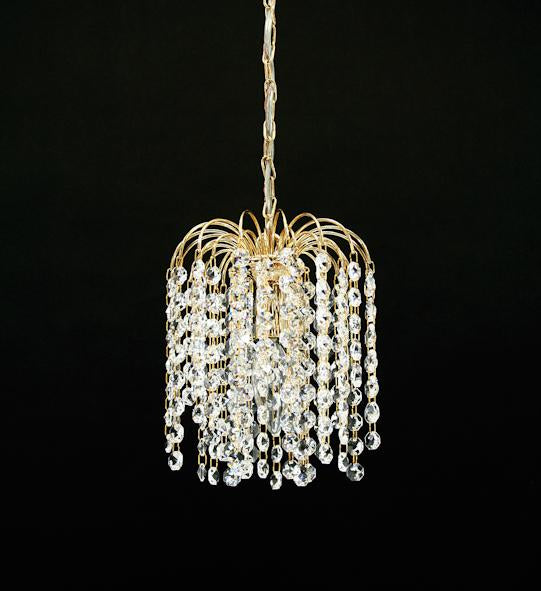 "4728 Crystal Single Pendant Light - 6"" 1 Light - Asfour Crystal 14mm Beads [S-4728-1L-14mm]"