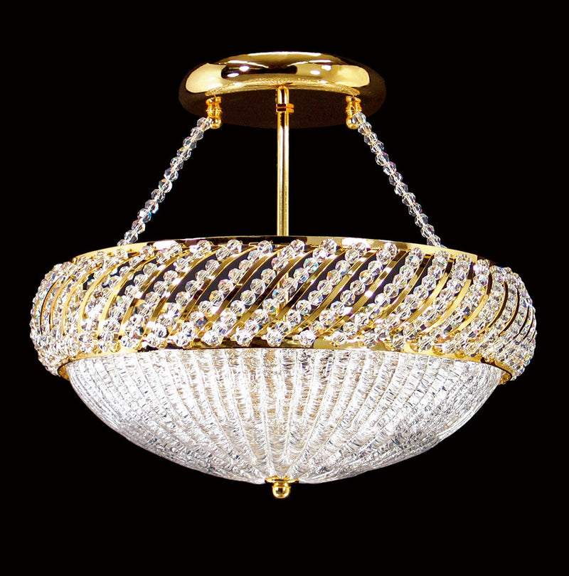 "1503 Crystal Semi Flush Mount Light 13"" 4 Light - Asfour Crystal [SF-1503-13""]"
