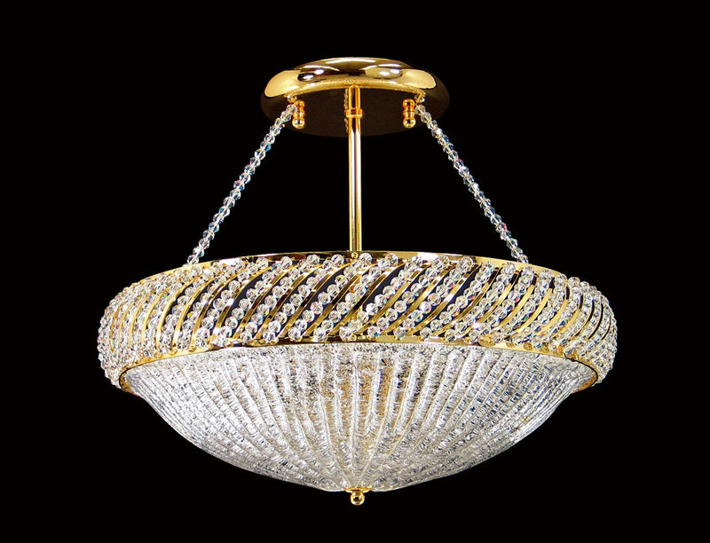 "1503 Crystal Semi Flush Mount Light 17"" 6 Light - Asfour Crystal [SF-1503-17""]"
