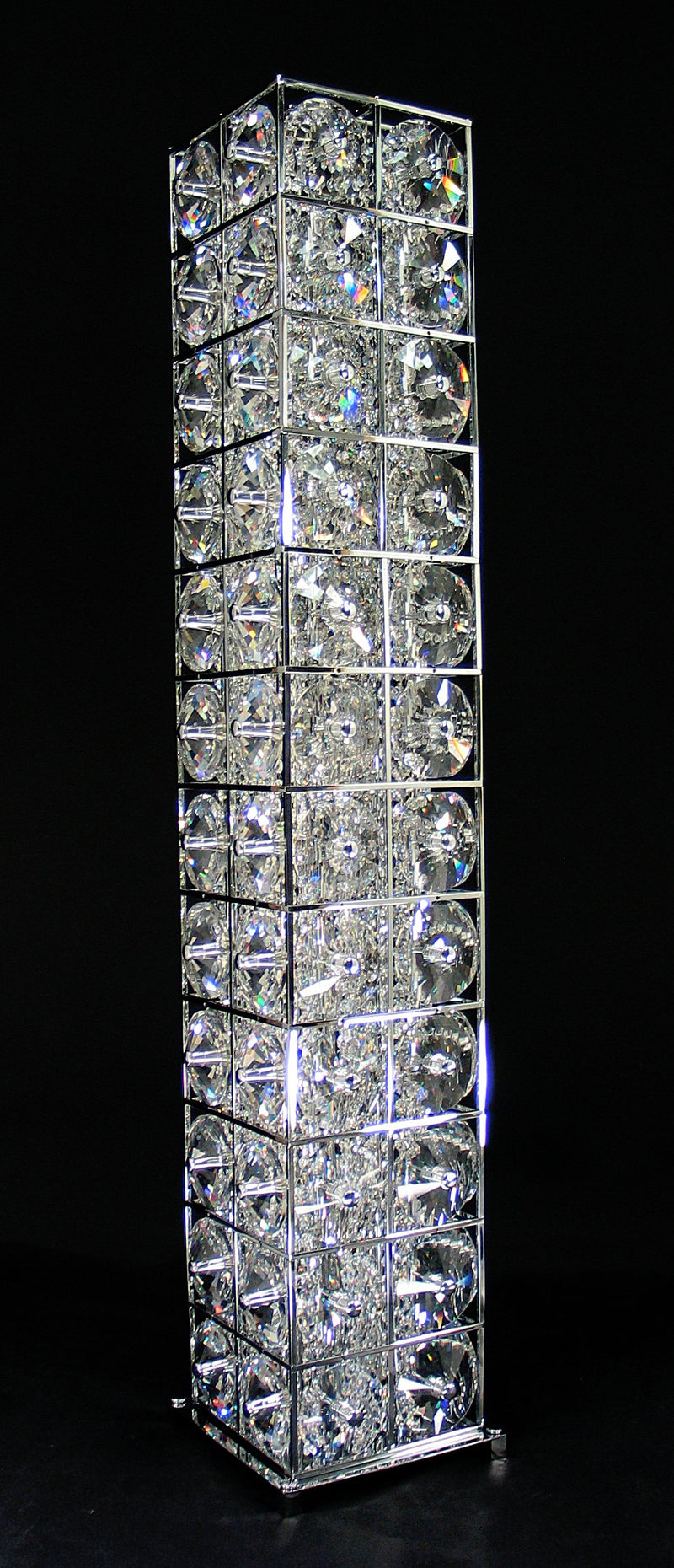 "48 Crystal Floor Lamp - 9"" Square 12 Light - Asfour Crystal [ST-48-9""x9""-1038-96]"