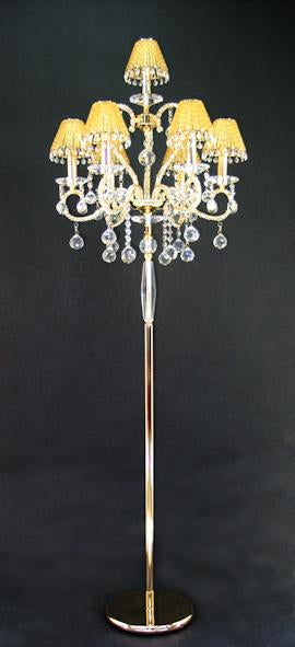 "7095 Crystal Floor Lamp - 22"" 7 Light - Crystal Shade - Asfour Crystal [ST-7095-22""-6+1L-1038-701+1142 AM]"