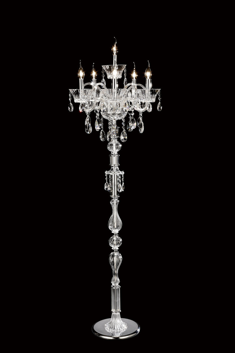 "9906 Crystal Floor Lamp - 20"" 6 Light - Asfour Crystal [ST-9906(9927C)-20""-5+1L-873]"