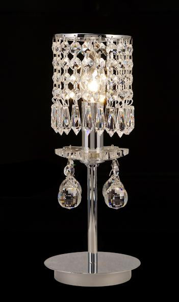 "008 Crystal Table Lamp - 4"" 1 Light - Asfour Crystal Prismas & 14mm Beads [T-008(1039)-1L+LS2-401]"