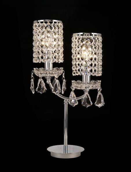 "038 Crystal Table Lamp - 10"" 2 Light - Asfour Crystal [T-038(AG941)-2L-917+LS2-14mm]"