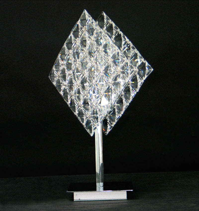 "1081 Crystal Table Lamp - 10"" 1 Light - Tile Patterned - Asfour Crystal [T-1081-1L-28mm-72]"
