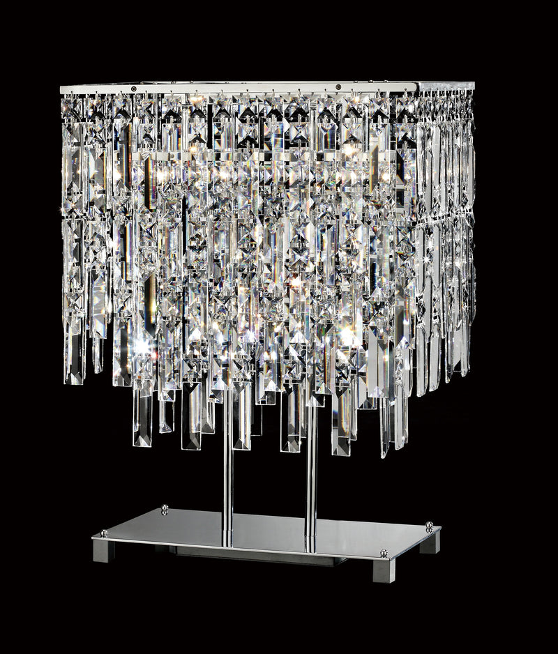 "20610 Crystal Table Lamp - 16"" Rectangle 3 Light - Asfour Crystal [T-20610-16""x9.5""-3L]"