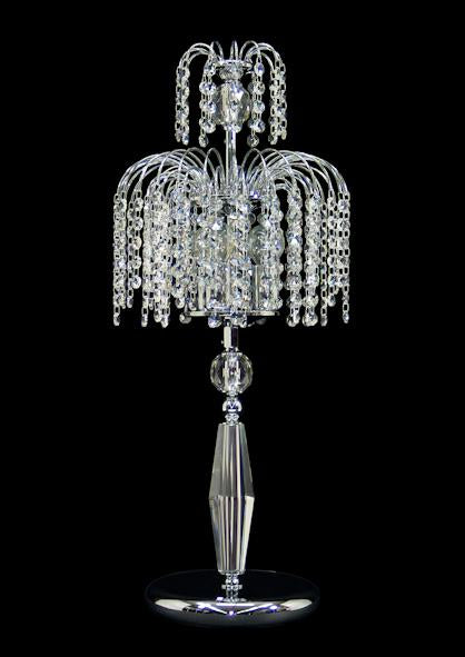 "4718 Crystal Table Lamp - 10"" 3 Light - Asfour Crystal 14mm Beads [T-4718-10""-3L-14mm]"