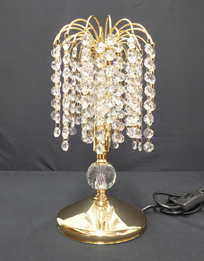 "4718 Crystal Table Lamp - 6"" 1 Light Gold - Asfour Crystal 14mm Beads [T-4718-6""-14mm]"