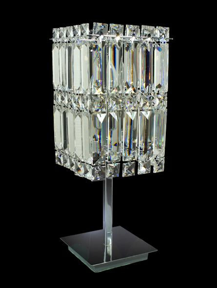 "6100 Crystal Table Lamp - 6"" Square 2 Light - Asfour Crystal [T-6100-6""x6""-2L]"