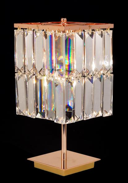 "6200 Crystal Table Lamp - 7"" Square 2 Light - Asfour Crystal Penlogue Coffin Stone [T-6200-(610-4"")-40]"