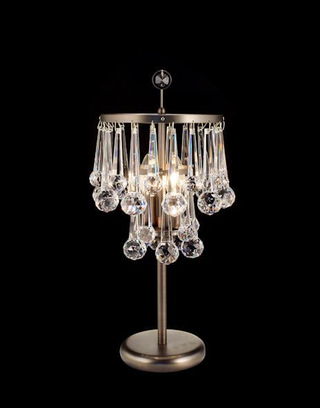 "6508 Crystal Table Lamp - 8"" 2 Light - Asfour Crystal [T-6508-2L-508-30]"