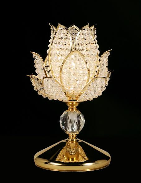"916 Crystal Table Lamp - 7.5"" 1 Light - Flower shaped - Asfour Crystal [T-916A-1L-S]"