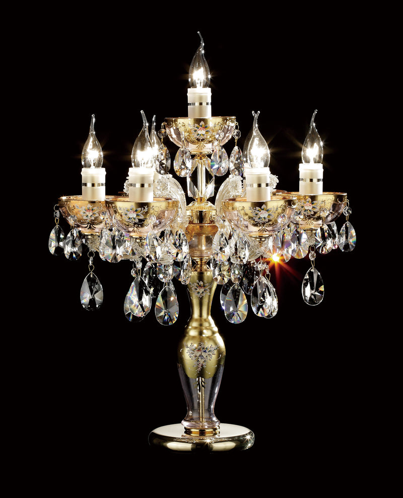 "6610 Crystal Table Lamp - 19"" 7 Light - Asfour Crystal [T-No.1-6610-19""-6+1L-873]"