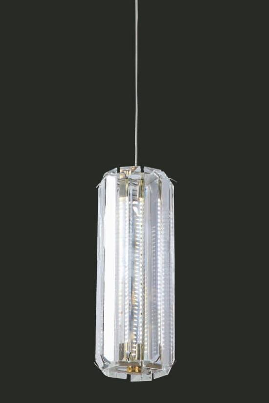 "Venus 14W LED Crystal Single Pendant Light - 3.5"" 1 Light Gold [Venus-1L-GD]"