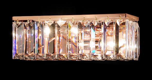 "102 Crystal Wall Light  - 13"" Rectangle 2 Light - Asfour Crystal [W-102(610-4"")-2L-25]"
