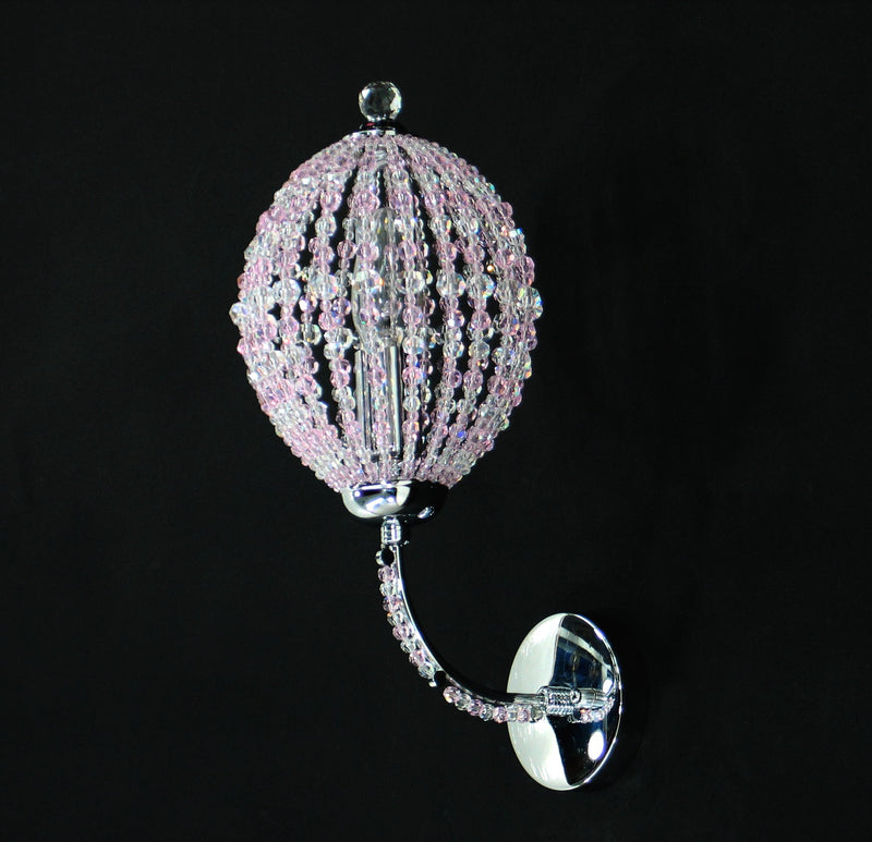 "1146 Crystal Wall Light - 5.5"" 1 Light - Pink Asfour Crystal [W-1146-1L PK]"