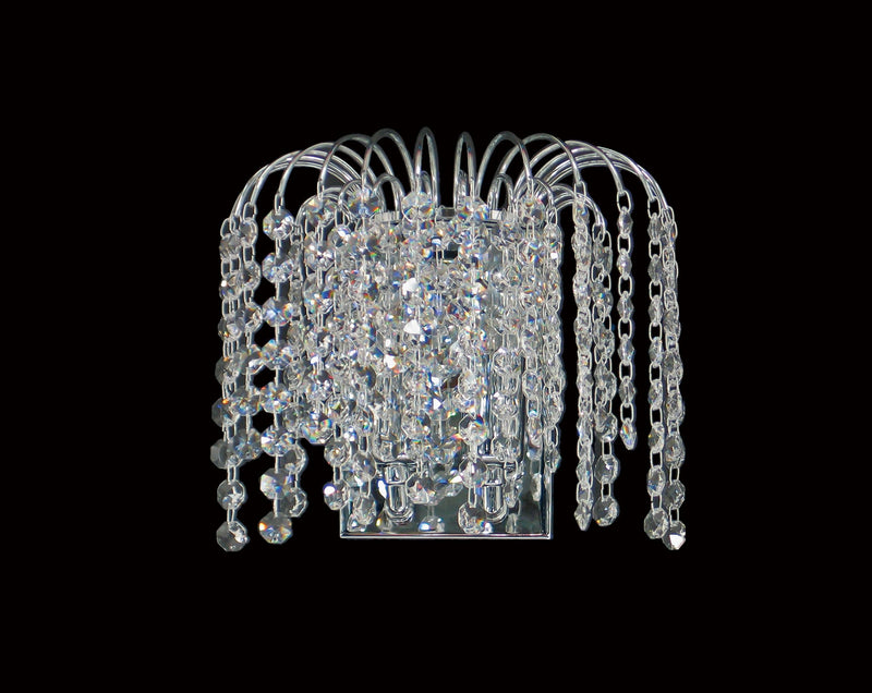 "4718 Crystal Wall Light - 9"" 2 Light - Asfour Crystal 14mm Beads [W-4718-2L-14mm]"