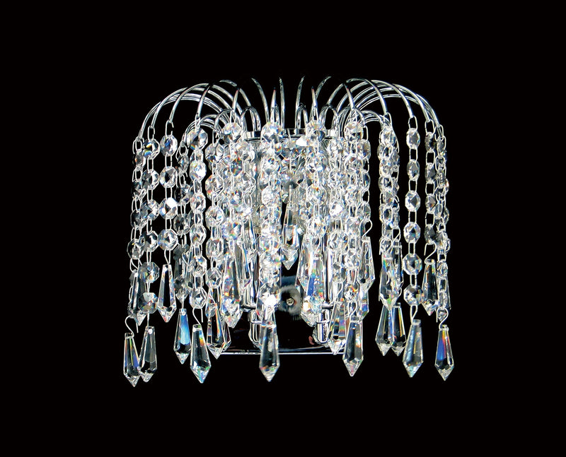 "4718 Crystal Wall Light - 9"" 2 Light - Asfour Crystal Prisma & 14mm Beads [W-4718-2L-14-401]"