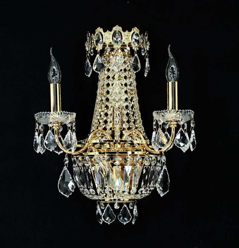 "6000 Crystal Wall Light - 15"" 4 Light - Asfour Crystal [W-6000-2L+(2L)-8016]"