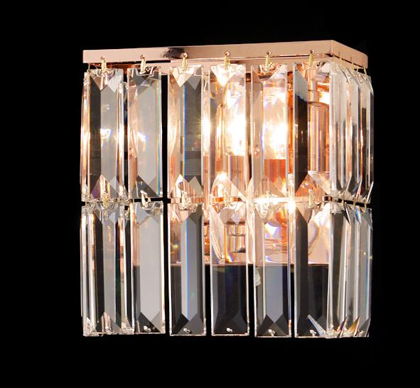 "6200 Crystal Wall Light - 8"" Rectangle 2 Light - Asfour Crystal [W-6200(610-4)-2L-24]"