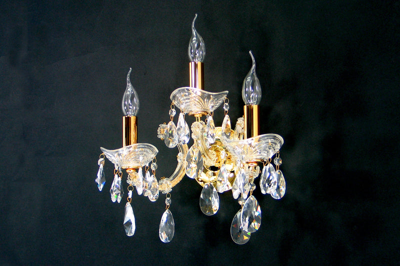 "6610 Crystal Wall Light - 14"" 3 Light - Asfour Crystal [W-6610-3L-873]"