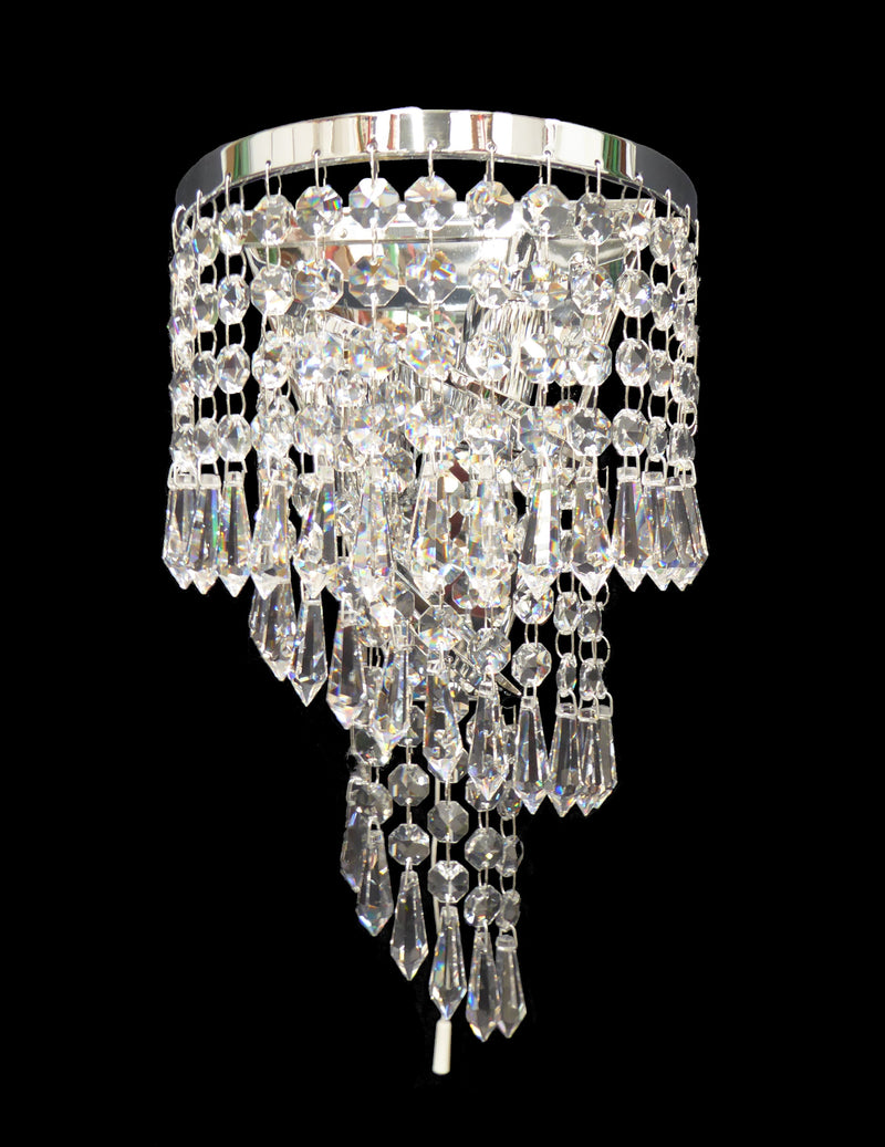 "701 Crystal Wall Light - 7.5"" 2 Light - Asfour Crystal Prisma & 14mm Beads [W-701-2L-14-401]"