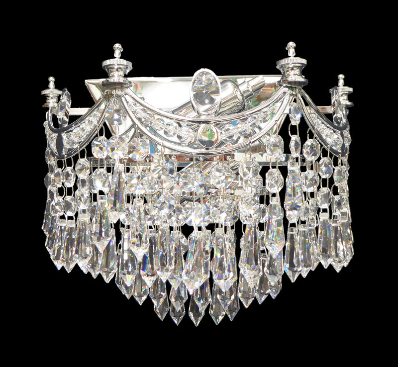 "702 Crystal Wall Light - 10.5"" 2 Light - Asfour Crystal Prismas & 14mm Beads [W-702-2L-14-401]"