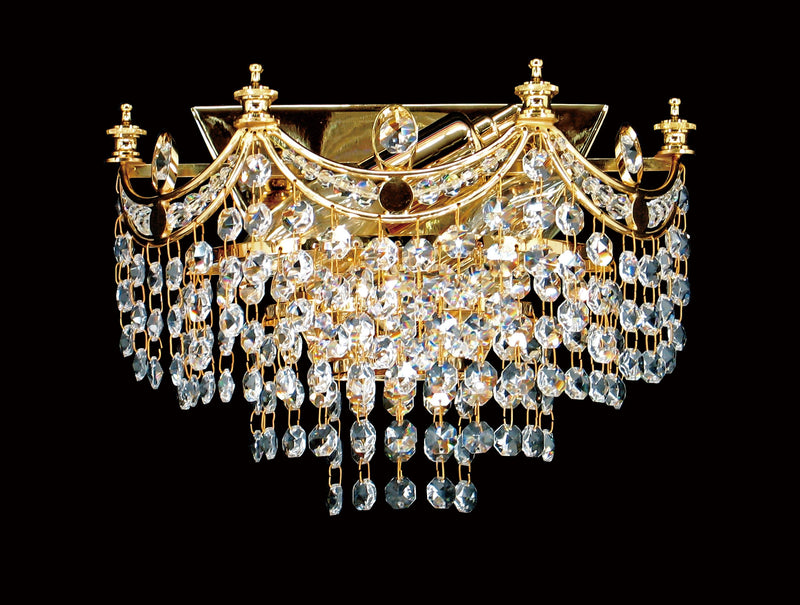 "702 Crystal Wall Light - 10.5"" 2 Light - Asfour Crystal 14mm Beads [W-702-2L-14mm]"