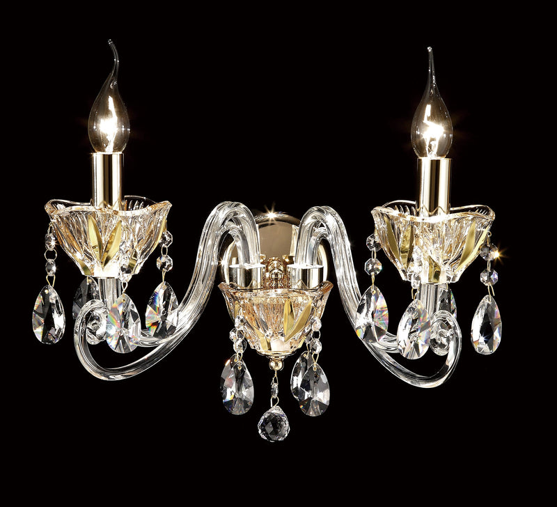 "8829 Crystal Wall Light - 15"" 2 Light - Asfour Crystal [W-8829-2L-873]"