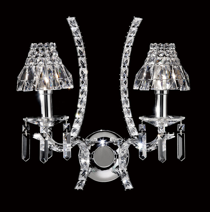 "9560 Crystal Wall Light - 15"" 2 Light - Crystal Shade - Asfour Crystal [W-9560-2L-2024-22+1143]"
