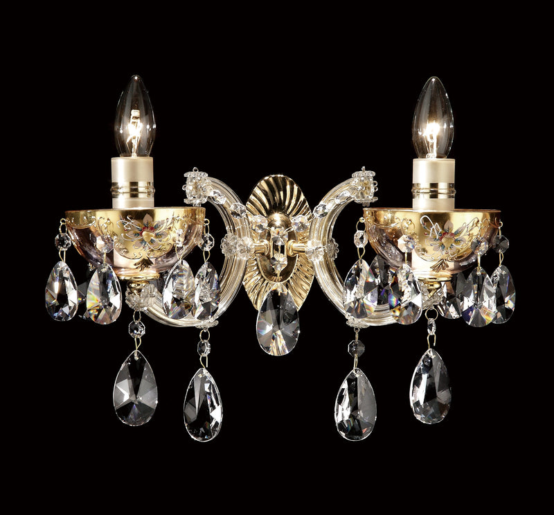 "6610 Crystal Wall Light - 14"" 2 Light - Asfour Crystal Pearshape [W-No.1-6610-2L-873]"