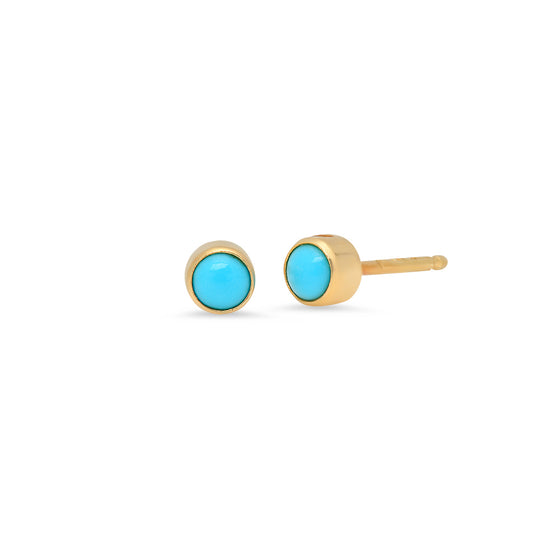 14 Karat Yellow Gold Turquoise Stud Earrings