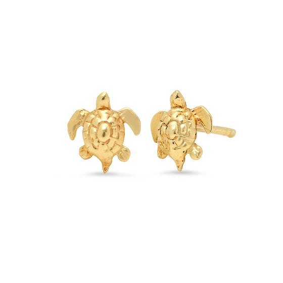 14 Karat Yellow Gold Turtle Stud Earrings