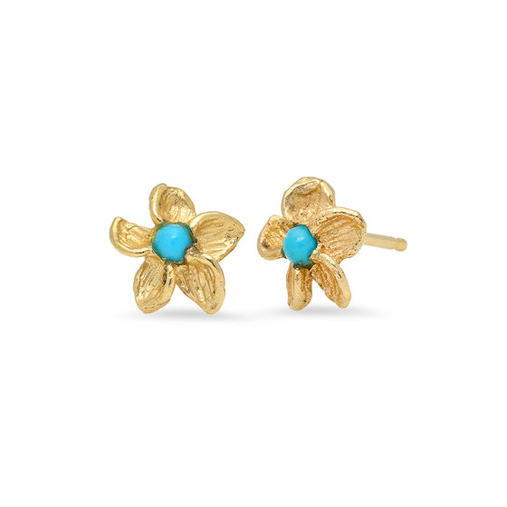 14 Karat Yellow Gold Flower Stud Earrings turquoise