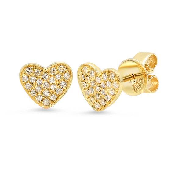 Pave Diamond Heart Studs - Online Exclusive