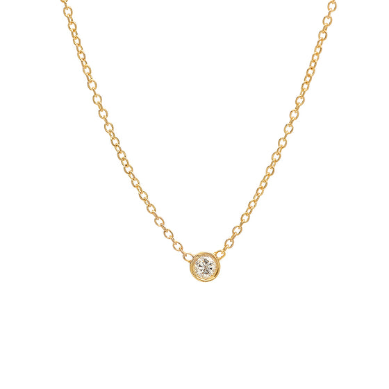 Dainty Single Diamond Necklace