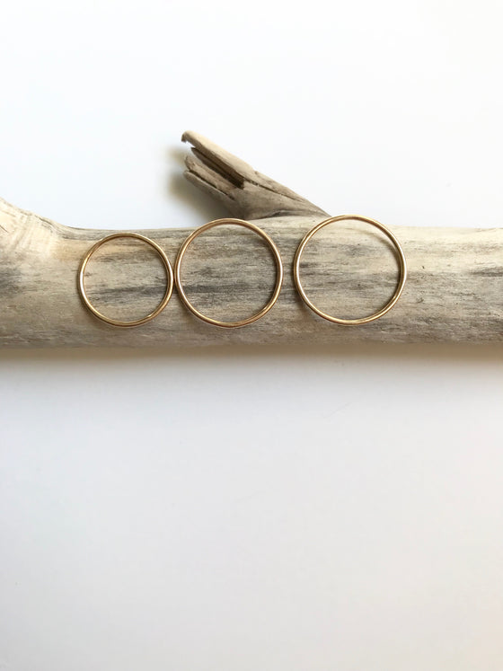 Thin Plain Gold Stacking Rings
