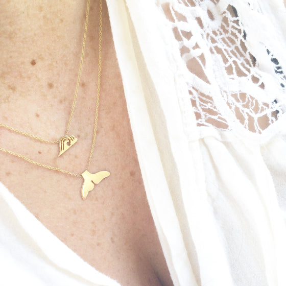 14k Whale Tail Necklace