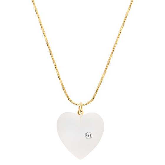Vintage Frosted heart necklace