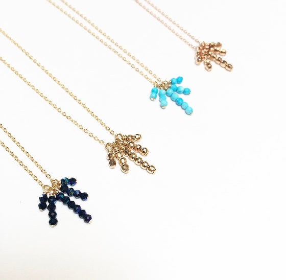 5 Beaded Spike Drop Necklace