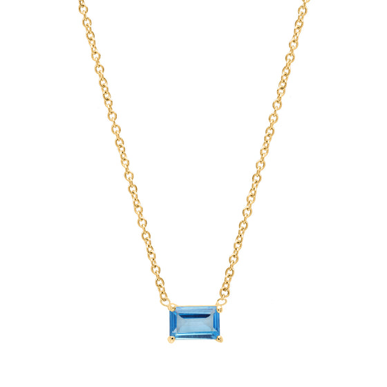 Blue Topaz emerald cut necklace