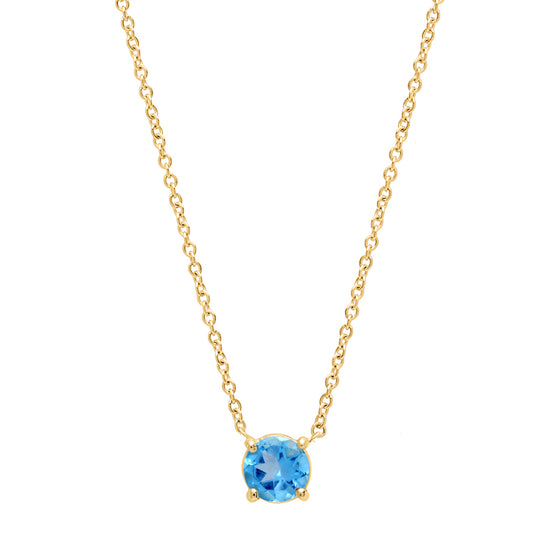 Blue topaz round cut necklace
