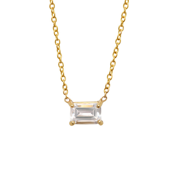 14 Karat Yellow Gold Emerald Cut White Topaz